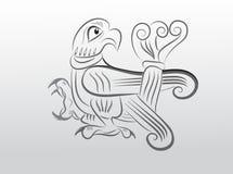 Slavic bird. The old Russian emblem painted bird falcon Royalty Free Stock Photo
