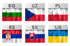 Slavic countries flags Royalty Free Stock Image