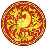 Slavic folk ornament with golden bird of happiness. Traditional folk ornament of the Russian North with golden bird of happiness on red background vector illustration