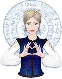 Slavic girl showing heart by fingers. Russian girl showing heart by fingers on the background with a folk ornament Royalty Free Stock Images