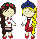 Slavic girls in costumes Royalty Free Stock Photos