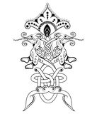 Slavic miracle beast. With ornament vector illustration
