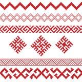 Slavic ornamental elements set. Slavic ornaments patterns vector set, monochrome on transparent background, traditional ethnic ornamental elements Stock Photos