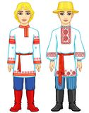 Slavic people. Animation portrait of the Russian and Belarusian man in traditional clothes. Eastern Europe.  Fairy tale character. Full growth. Vector Stock Photography