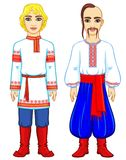 Slavic people. Animation portrait of the Russian and Ukrainian man in traditional clothes. Eastern Europe. Fairy tale character. Full growth. Vector Royalty Free Stock Photos
