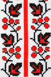 Slavic red and black embroidery by cross-stitch. Stock Image
