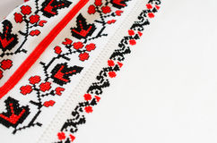 Slavic red and black embroidery by cross-stitch. Stock Photo