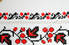 Slavic red and black embroidery by cross-stitch. Royalty Free Stock Photos