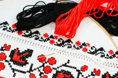 Slavic red and black embroidery by cross-stitch. Stock Photos