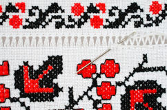 Slavic red and black embroidery by cross-stitch. Royalty Free Stock Photography