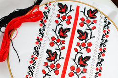 Slavic red and black embroidery by cross-stitch. Royalty Free Stock Photo