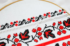 Slavic red and black embroidery by cross-stitch. Stock Images