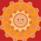 Slavic sun on the bright yellow, orange and red background. With curious abstract design. Shrovetide. Vector illustration Royalty Free Stock Photos