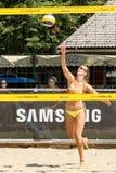 Slavina Koleva serving in qualification round. Ljubljana, Slovenia - JULY 20, 2017: Slavina Koleva serving in qualification round of Ljubljana Beach Volley Stock Image
