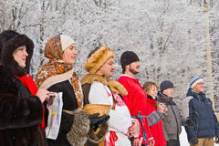 Slavisch de vakantie-hymne van Kerstmis: actoren. Stock Foto