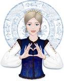 Slavisch meisje die hart tonen door vingers stock illustratie