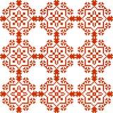 Slavisk geometrisk prydnad Sömlös modell i rött Arkivbilder