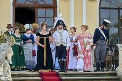 slavkov grodowy dziejowy reenactment Aktorzy bawić się Maria Walewska Napoleon i cesarz Ja który przyjeżdża w kasztelu spotykać, obraz royalty free