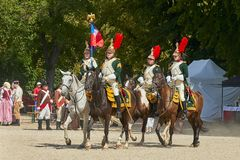 Slavkov-Austerlitz castle historical reenactment. Procession of horsemen in historical uniform from Napoleon Bonaparte period in g royalty free stock photography