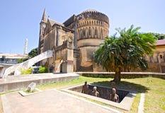 Slavmarknadsminnesmärke på Zanzibar arkivbild