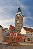 Slavonice Church at old town center Stock Images