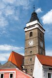 Slavonice City Tower. Tower of Church of the Assumption of the Virgin Mary in Slavonice, South Bohemia, Czech Republic Royalty Free Stock Photo