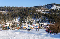 Slavske ski resort in Carpathians stock image