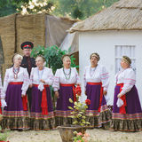 SLAVYANSK-ON-KUBAN, RUSSIA - JULY 31.2015: Cossacks sing at a village fete Stock Photography