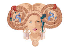 Slaw woman. Illustration of a longhaired slaw woman. Simple solid fill only - no gradient, no gradient mesh Stock Photos