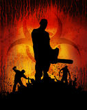 Slayer chainsaw 2. Zombies approaching human with chainsaw Royalty Free Stock Images
