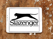 Slazenger logo. Logo of sporting fashion company, Slazenger on samsung tablet. Slazenger is a British sporting goods manufacturer which concentrates on racket Royalty Free Stock Photo