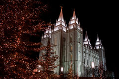 SLC Temple Christmas Stock Photos