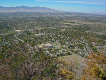 SLC Valley. Image of the Salt Lake City Valley taken from the mountains above Draper, Utah Stock Photo