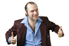 Sleazy guy two thumbs up Royalty Free Stock Photos