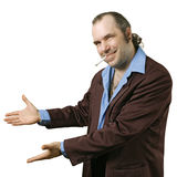Sleazy salesman pointing Stock Photography