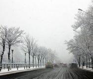 Slecht de winterweer van Boekarest stock fotografie