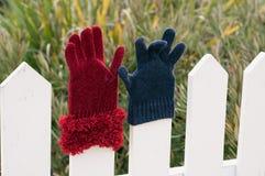 Slecht gecombineerde handschoenen op een omheining Royalty-vrije Stock Afbeelding