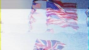 Slecht TV-signaal Brits Union Jack en Amerikaanse vlaggen van de Verenigde Staten