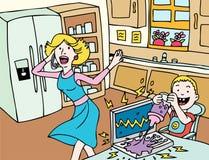 Slechte Dag voor Mama: Laptop Ongeval Stock Foto