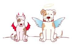 Slechte hond en goede hond Stock Afbeeldingen
