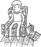 Slechte Jongenslijn Art Vector Illustration Royalty-vrije Stock Foto