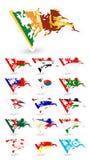 Slechte voorwaardenvlaggen van Azië 3 Stock Afbeeldingen