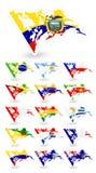 Slechte voorwaardenvlaggen van Zuid-Amerika Royalty-vrije Stock Foto's