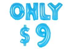 Slechts negen dollars, blauwe kleur Royalty-vrije Stock Foto