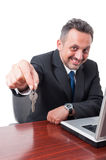 Slective focus of man holding keyas real estate concept Royalty Free Stock Images