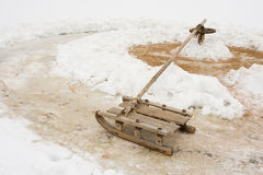 Sled. On the ice for active rest Royalty Free Stock Photos