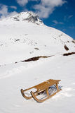 Sled. Photo of a sled on a mountain in the Swiss Alps Stock Image