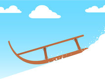 Sled. On snow before blue sky vector illustration