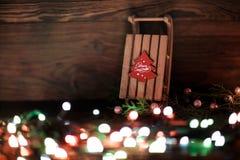 Sled  and Christmas decor Stock Photography