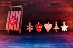 Sled  and Christmas decor Royalty Free Stock Image